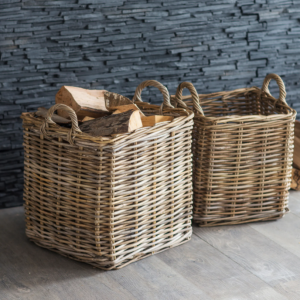 Square Handwoven Baskets (Set of 2)